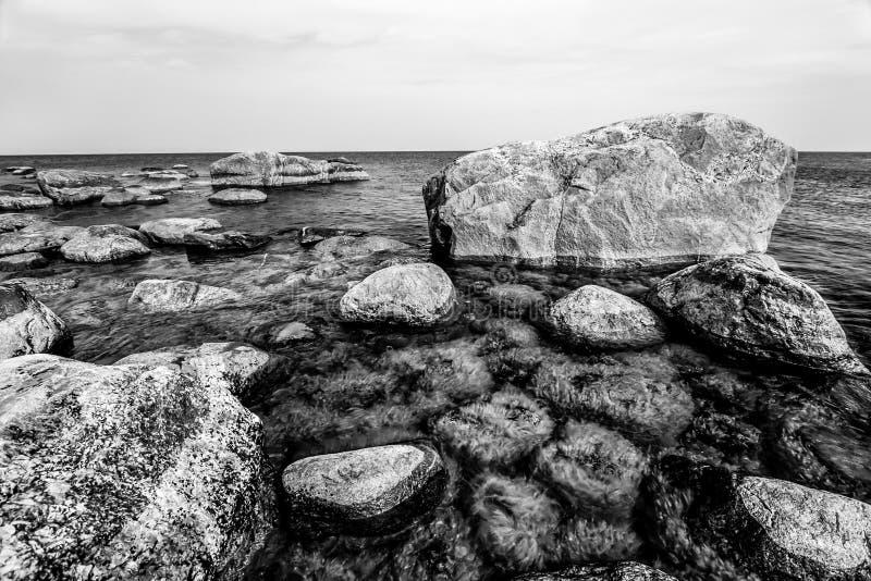 Härliga enorma stenar i havet med små stenar under vatten som är bevuxet med gröna alger i golfen av Finland svart white royaltyfri fotografi