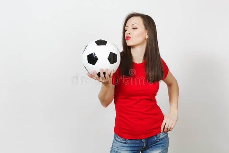 Härliga europeiska ungdomar, fotbollsfan eller spelare på vit bakgrund Sport lek, hälsa, sunt livsstilbegrepp royaltyfria foton