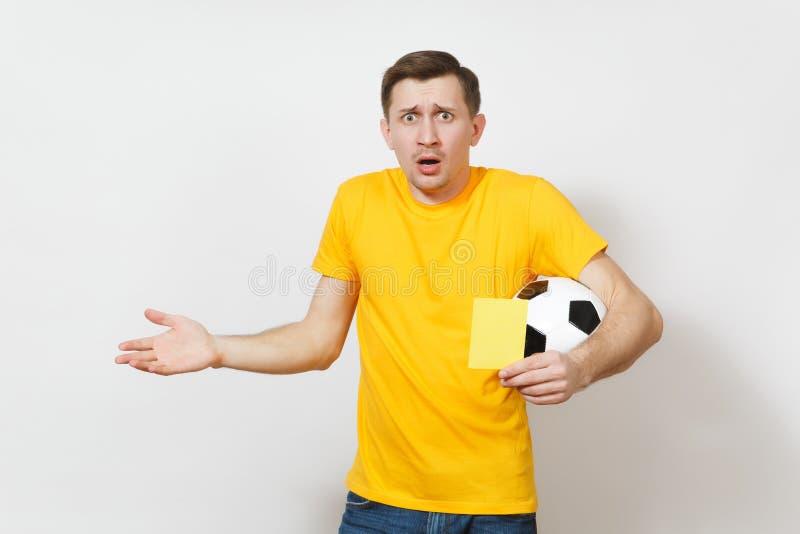 Härliga europeiska ungdomar, fotbollsfan eller spelare på vit bakgrund Sport lek, hälsa, sunt livsstilbegrepp arkivfoto