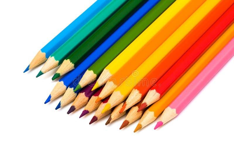 härliga färgblyertspennor royaltyfri foto