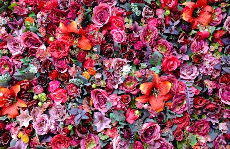 Härliga färger bukett av för den plast- ros- och Lilly blomman med olika blommor Dekorativ färgrik blom- väggbakgrund royaltyfria foton
