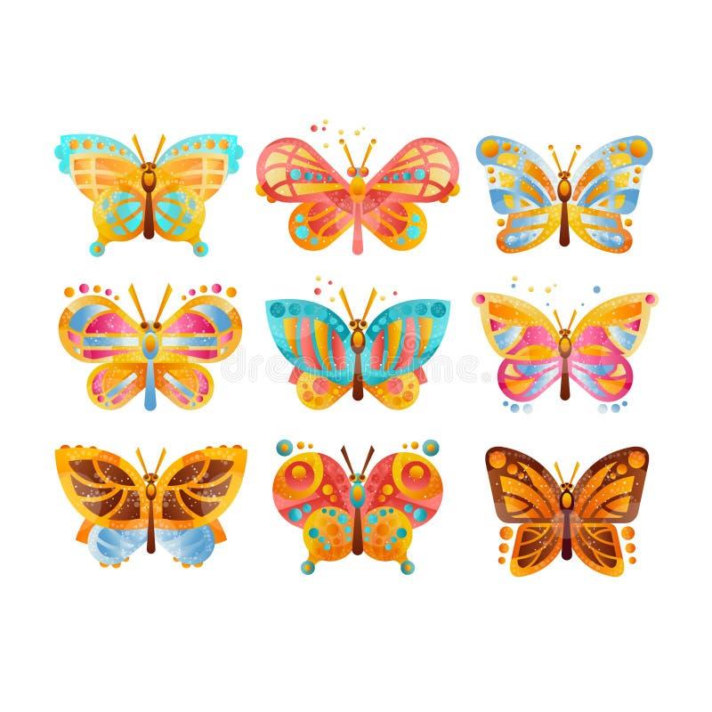 Härliga färgrika fjärilar ställde in vektorillustrationer på en vit bakgrund stock illustrationer