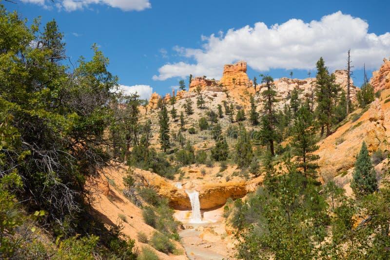 Härliga färgrika klippor på en vattenfall i sydvästliga Amerika royaltyfria foton
