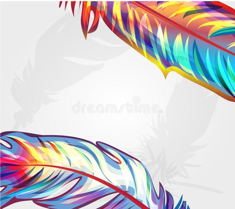 härliga fallande fjädrar vektor illustrationer