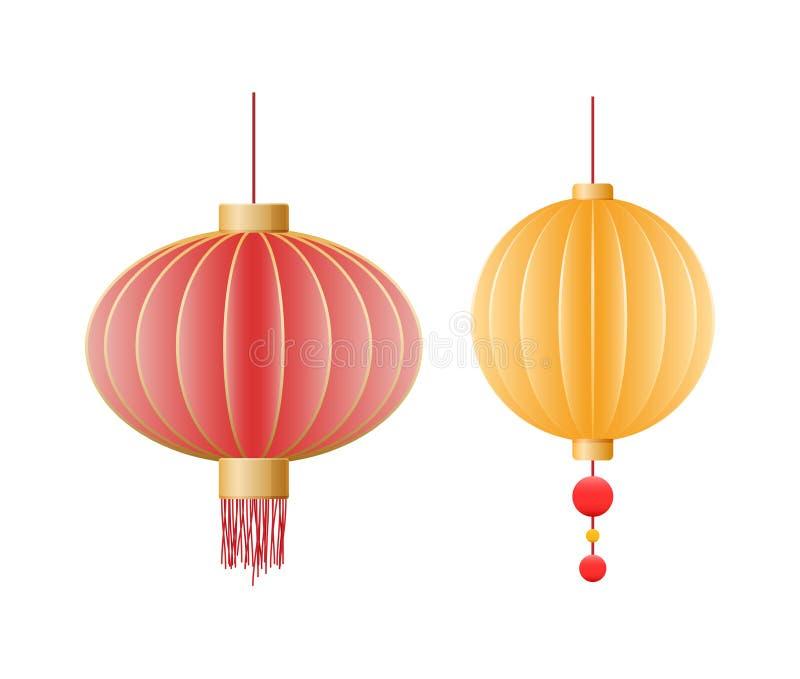 Härliga festliga kinesiska pappers- lyktor, garneringar, landskap för ferien vektor illustrationer