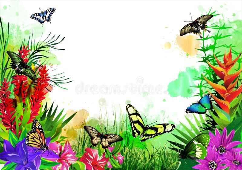 Härliga fjärilar med tropiska blommor på färgrika droppar av målarfärg vektor illustrationer