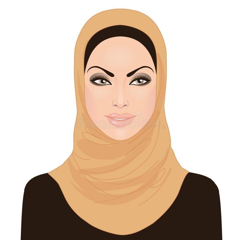 härliga flickahijabmuslim royaltyfri illustrationer