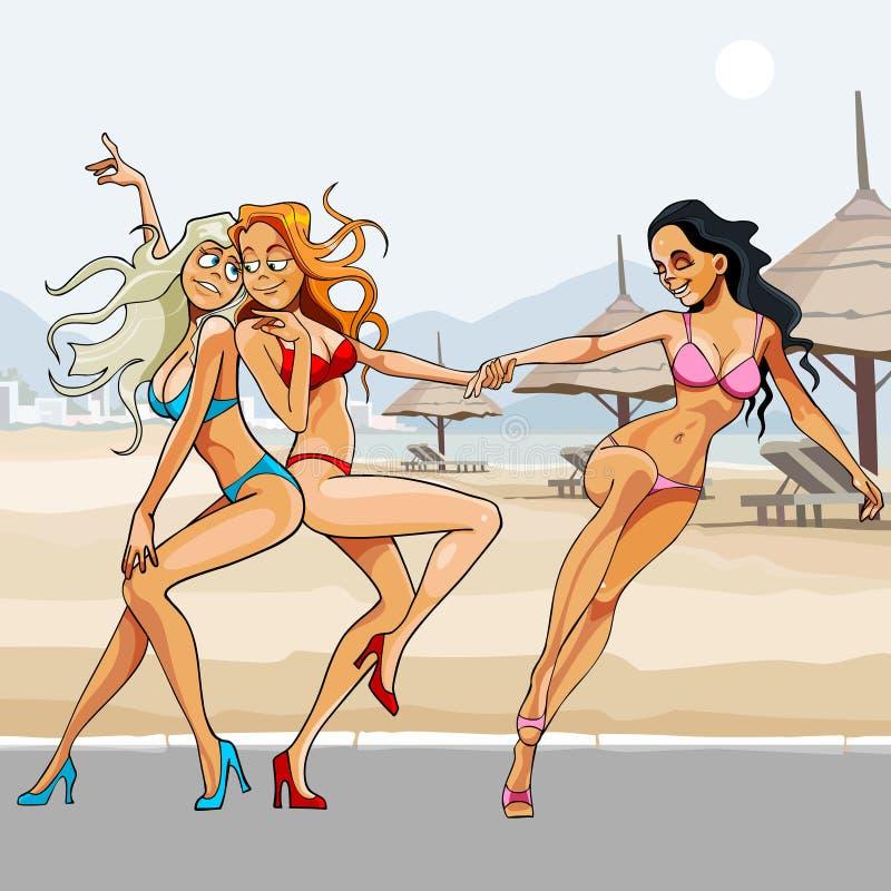 Härliga flickor för tecknad film i bikinier som dansar på stranden royaltyfri illustrationer