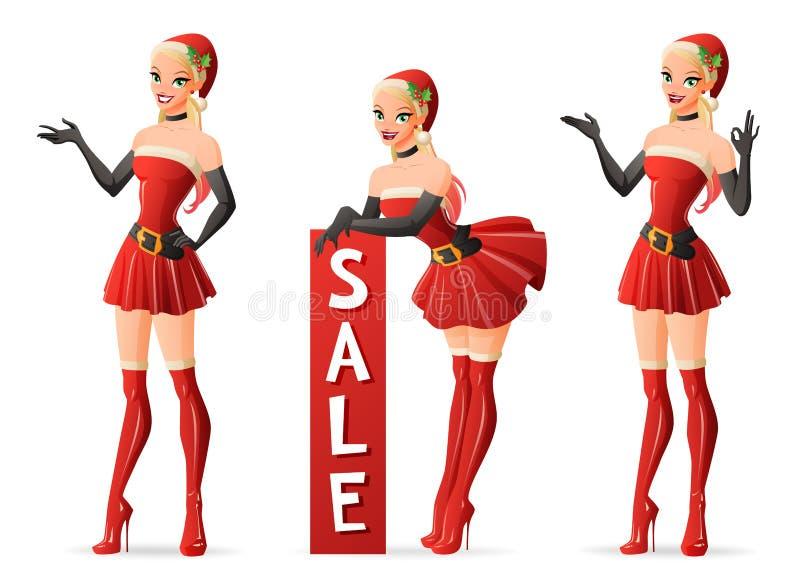 Härliga flickor i jultomtendräkt i olikt poserar vektor för set för tecknad filmhjärtor polar vektor illustrationer