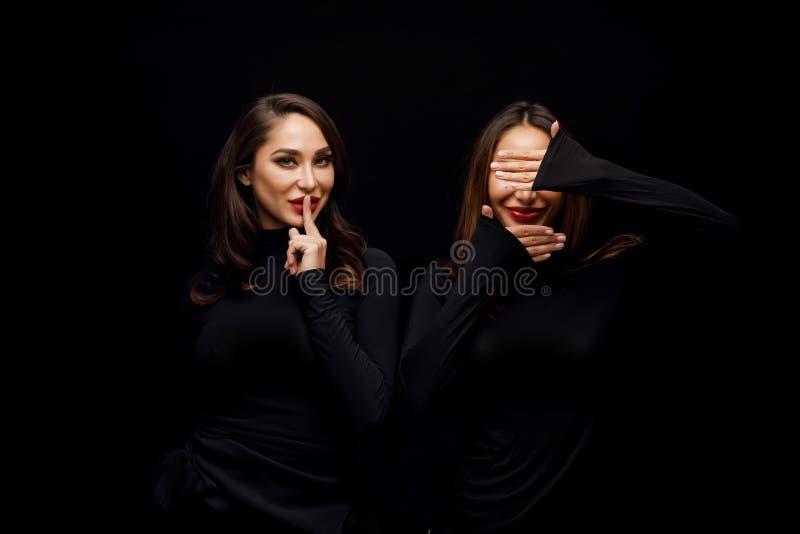 Härliga flickor kopplar samman arkivfoto
