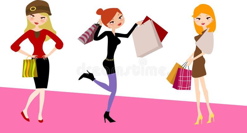 härliga flickor som shoppar tre royaltyfri illustrationer