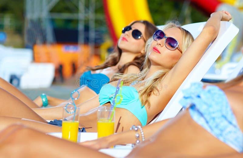Härliga flickor som solbadar på sommarsemester royaltyfri foto
