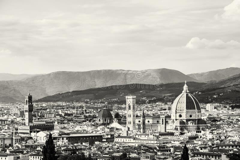 Härliga Florence, Tuscany, Italien som är svartvit arkivfoto