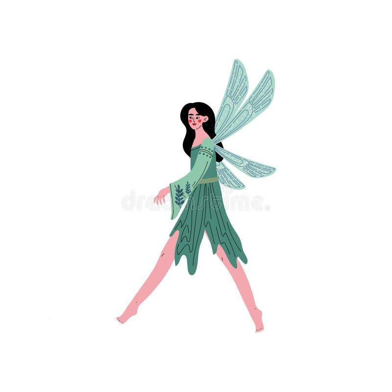 Härliga Forest Fairy eller nymf med vingar, nätt brunettflicka i grön klänningvektorillustration vektor illustrationer