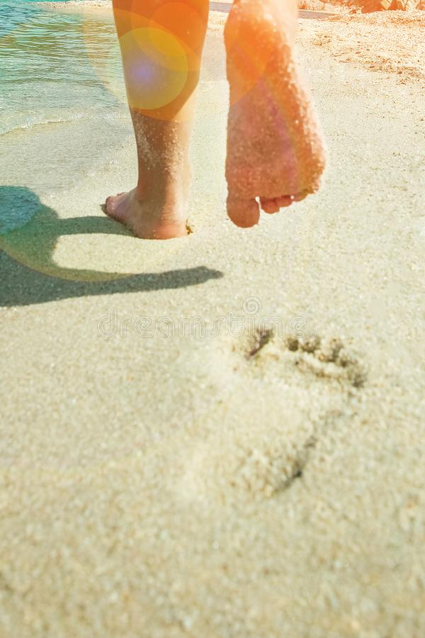 Härliga fotspår på sandnaturbakgrunden arkivfoton