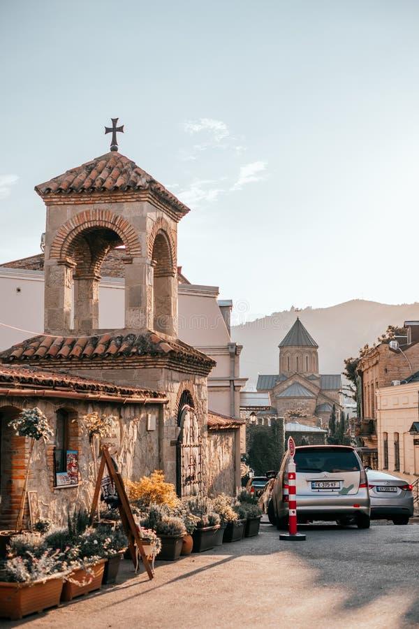 Härliga gator av Tbilisi arkivfoton