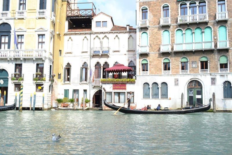 Härliga gondoler med passagerare fortskrider den storslagna kanalen i en solig vårdag royaltyfri bild
