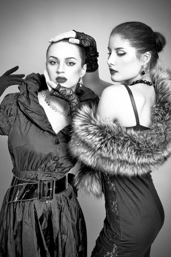 härliga gråa modeflickor för bakgrund fotografering för bildbyråer