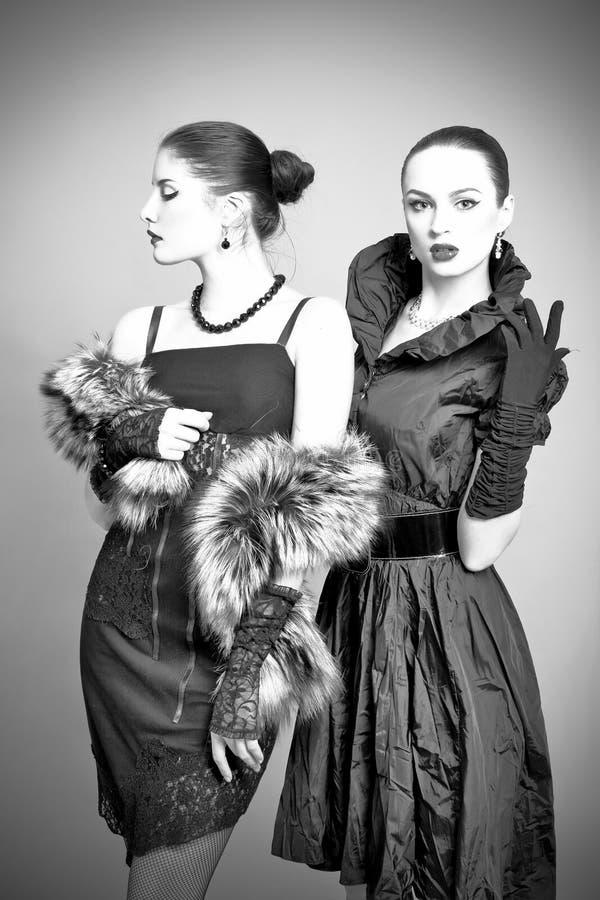härliga gråa modeflickor för bakgrund royaltyfri foto