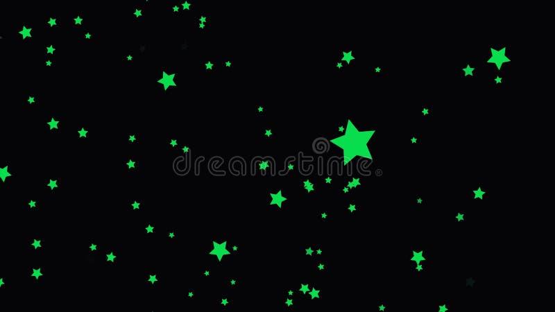 Härliga gröna skjuta stjärnor från botten som ska överträffas på svart bakgrund, tecknad filmanimering, sömlös ögla Litet fem stock illustrationer
