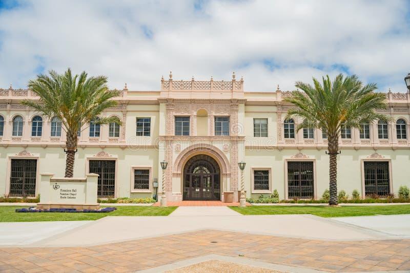 Härliga grundare Hall av universitetet av San Diego royaltyfria bilder