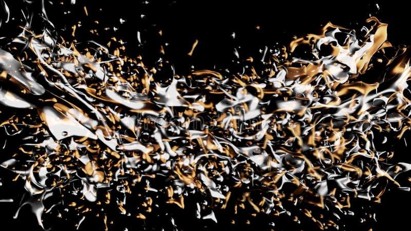 Härliga guld- och silveroljafärgstänk i långsam rotation och frysningrörelse, sömlös ögla djur Sprängd flytande vektor illustrationer