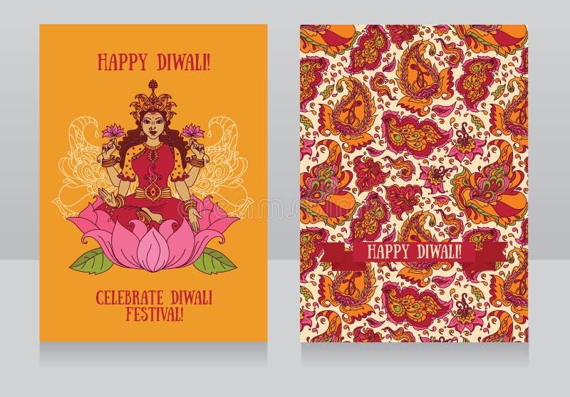 Härliga hälsningkort för diwalifestival med den indiska gudinnan Lakshmi royaltyfri illustrationer