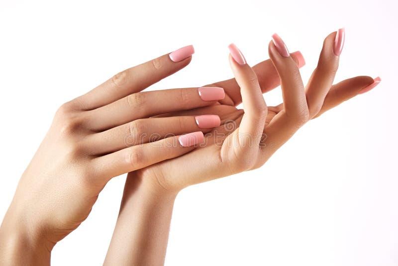 Härliga händer för kvinna` s på ljus bakgrund Omsorg om handen Anbud gömma i handflatan Naturlig manikyr, rengöringhud spikar pin royaltyfri foto