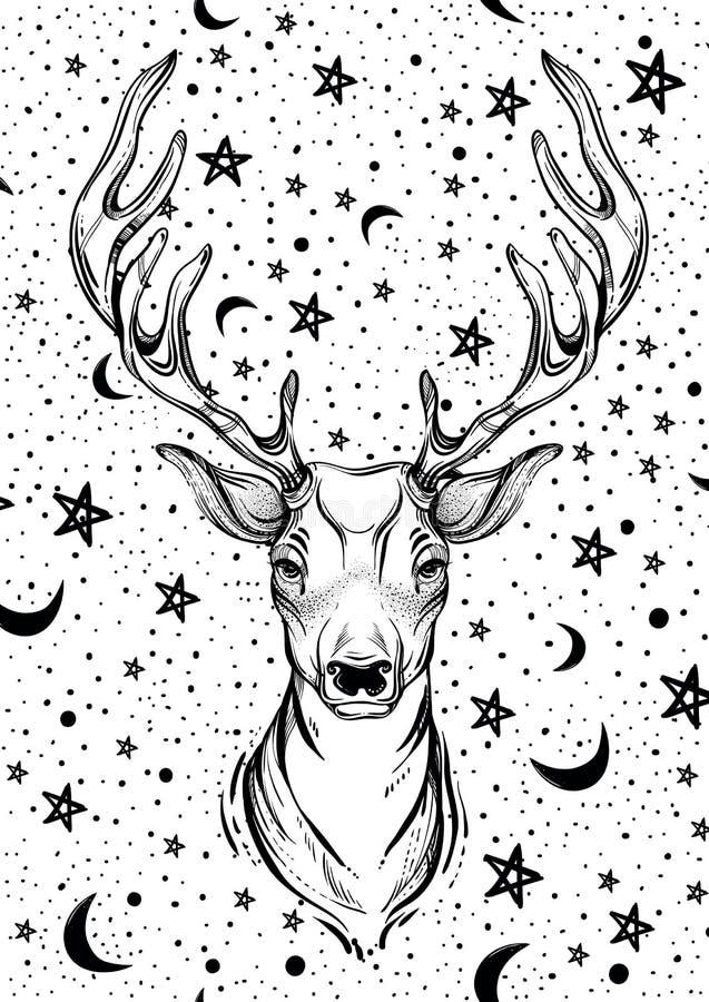 Härliga hand-drog hjortar head på bakgrund för natthimmel Konstarbete som isoleras på vit stock illustrationer