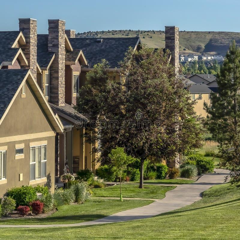 Härliga hus för fyrkantig ram på en grannskap som omges av träd och gräs- terräng royaltyfri bild
