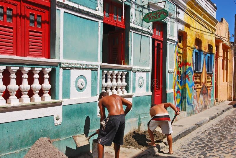 Härliga hus i Olinda royaltyfria bilder