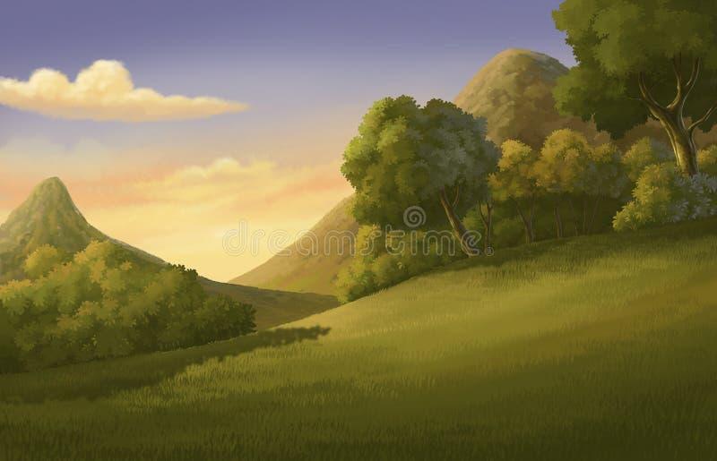 Härliga illustrationskog och solnedgång royaltyfri illustrationer