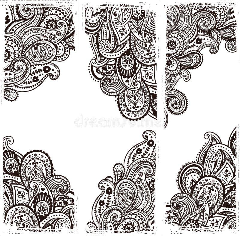 Härliga indiska paisley stock illustrationer