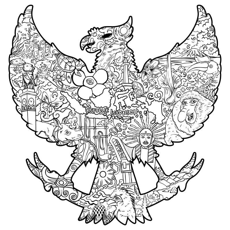 Härliga indonesia i svartvit illustration för garudasilhouete stock illustrationer