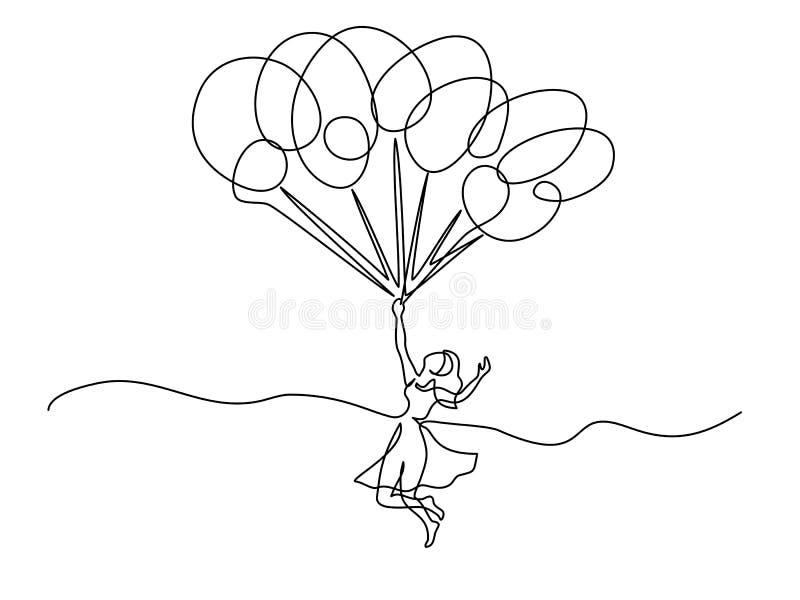 Härliga innehavballonger och flyg för ung kvinna stock illustrationer