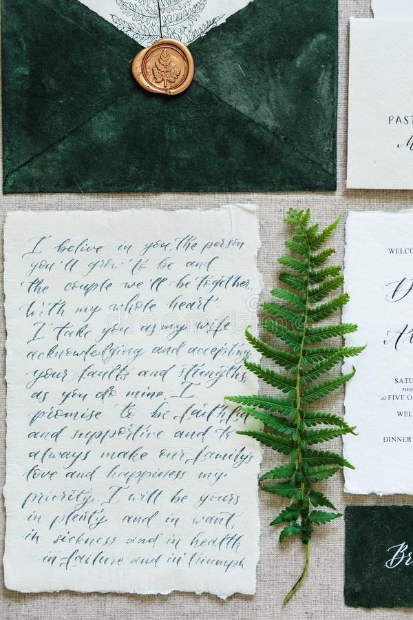 Härliga kalligrafibröllopattribut i pastellfärgade färger Inbjudan kuvert royaltyfri fotografi