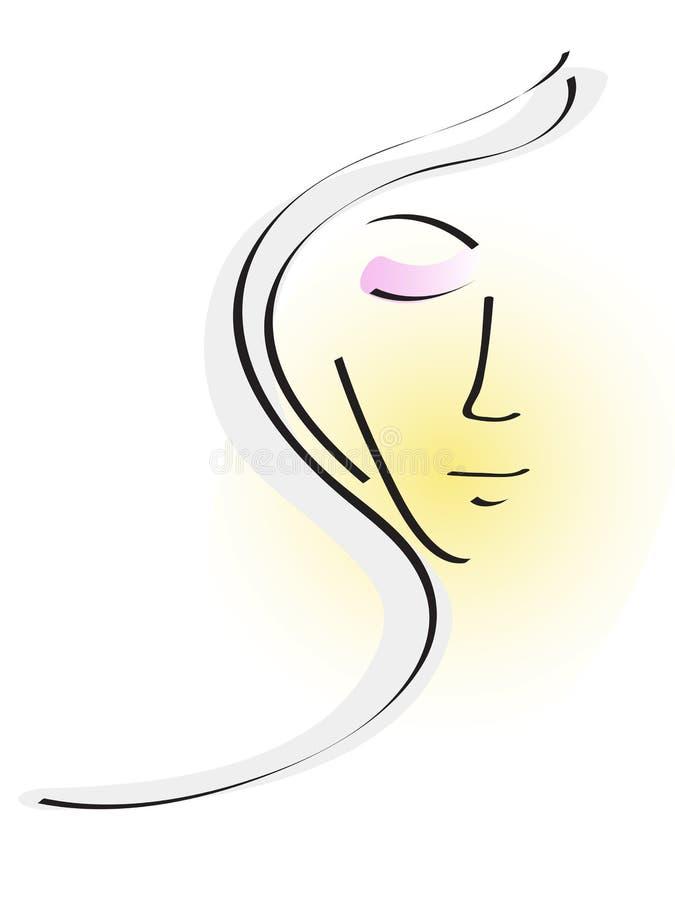 Härliga kvinna framsida vektor illustrationer
