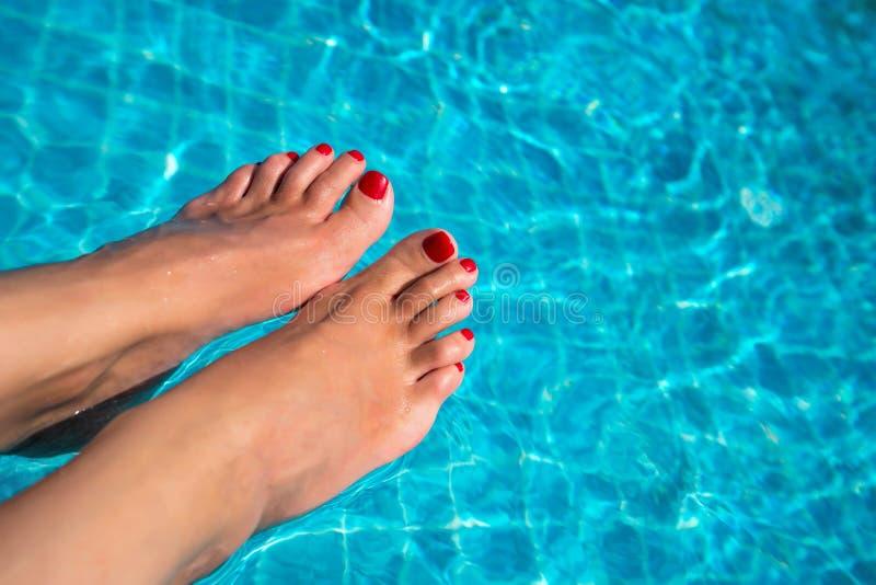 Härliga kvinnaben i blått vatten H?rlig sexig kvinnlig fot som kopplar av vid simbass?ngen Sommarbakgrund f?r att resa arkivbild