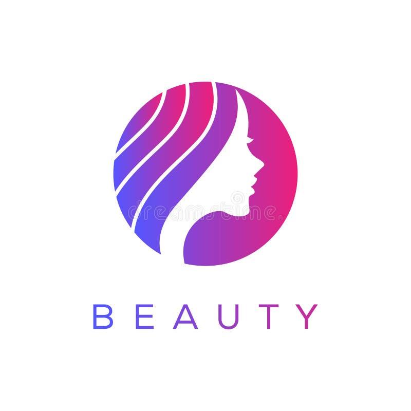 Härliga kvinnas framsida med den långa mallen för hårlogodesign stock illustrationer