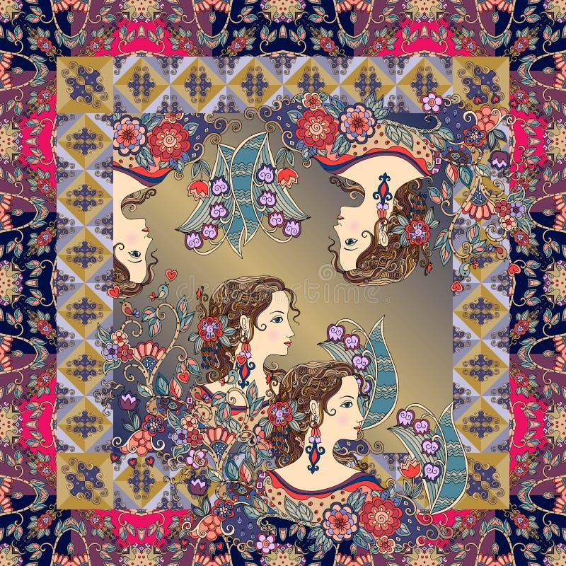 Härliga kvinnastående och blommor i dekorativ ram royaltyfri illustrationer