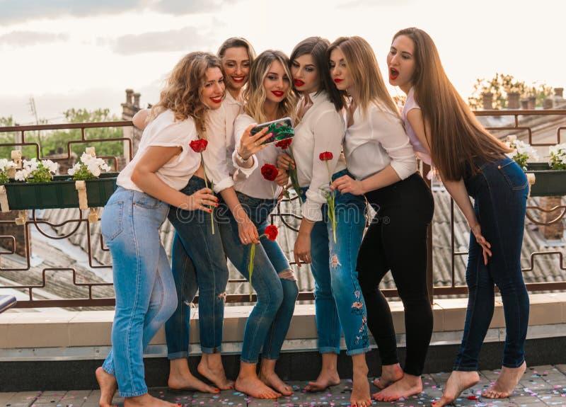 Härliga kvinnavänner som har gyckel på ungmöpartiet royaltyfria bilder