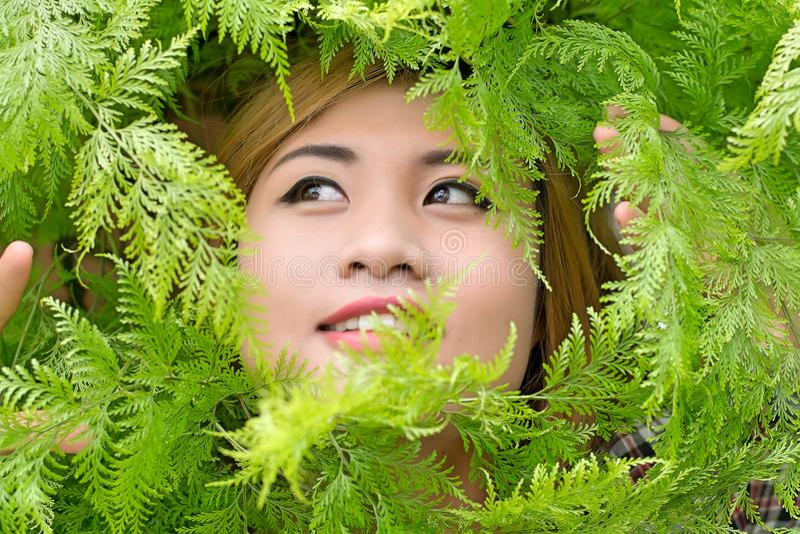 Härliga kvinnor i en dunge av träd, ormbunkesmiley fotografering för bildbyråer