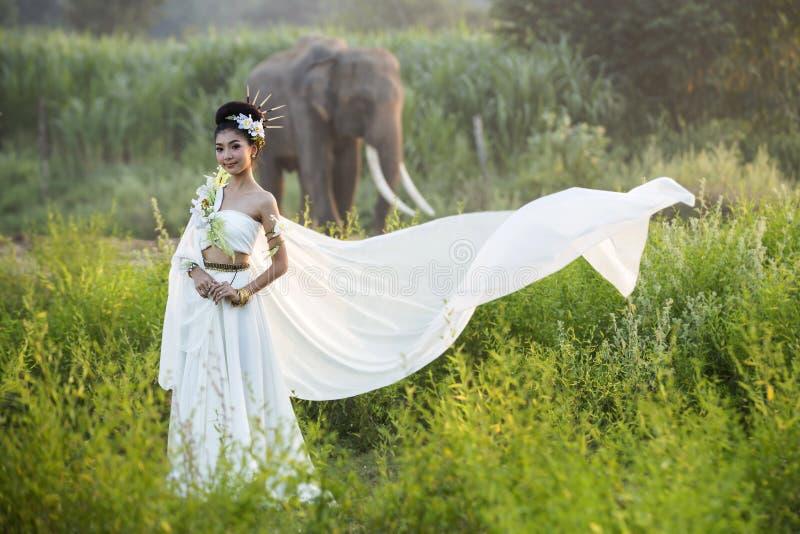 Härliga kvinnor som bär byn för vit elefant royaltyfri fotografi