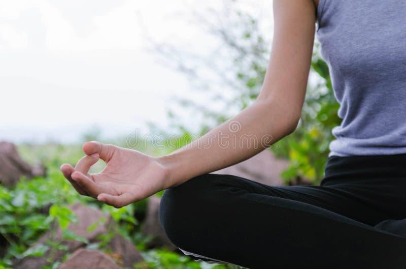 Härliga kvinnor som gör yoga i natur arkivbilder