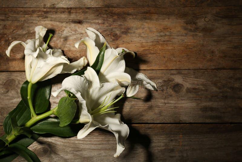 Härliga liljor och utrymme för text royaltyfria foton