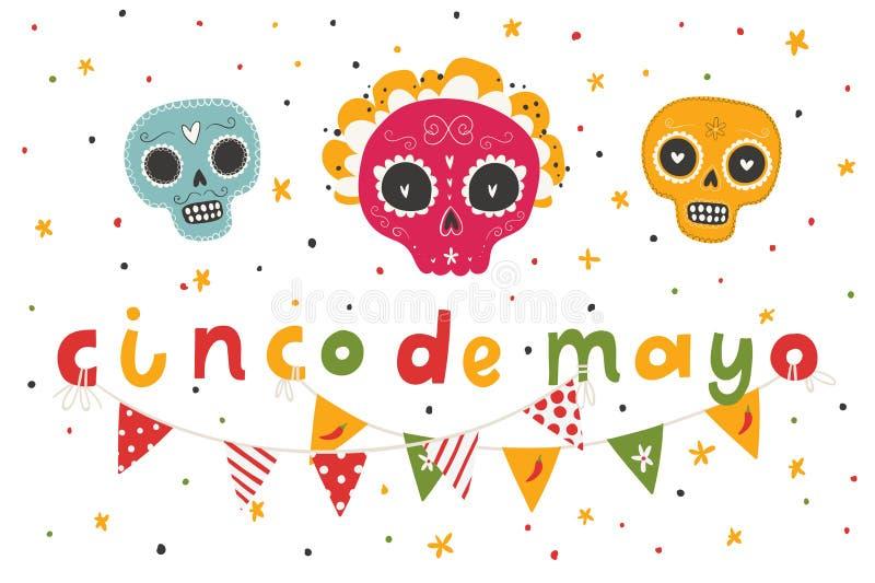 Härliga ljusa vektorillustrationer med traditionell mexicansk sockerskallar och bokstäver royaltyfri illustrationer