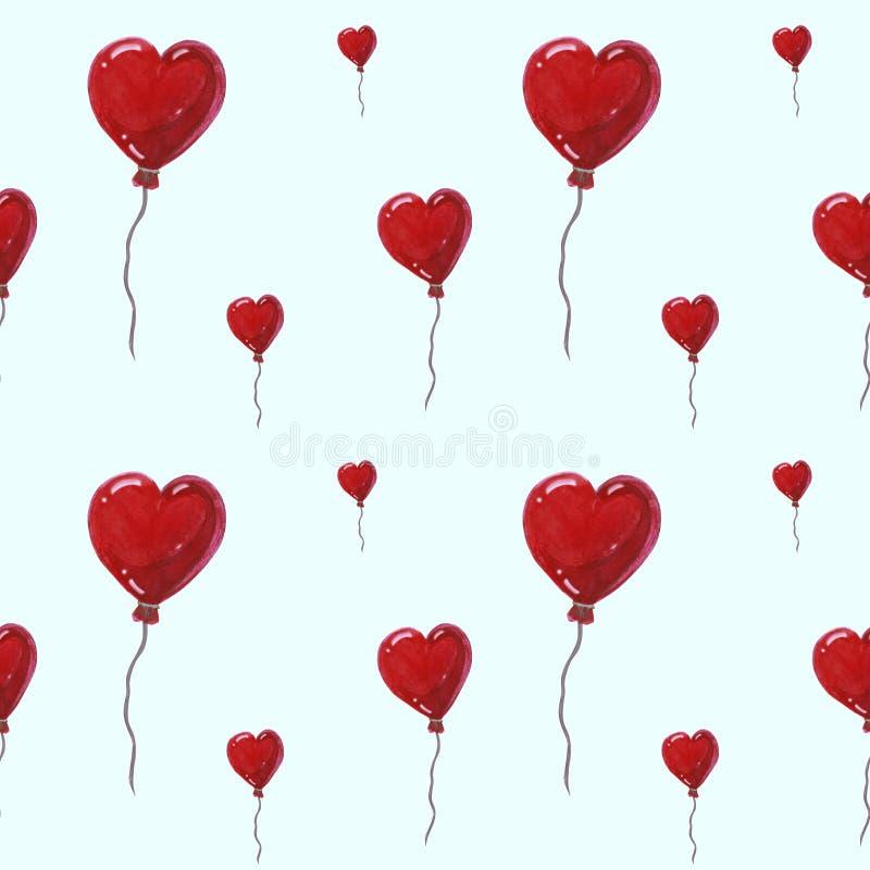 Härliga luftballonger i formen av hjärtor, sömlös vattenfärgmodell på blå bakgrund Kan användas för hälsningkort royaltyfri foto