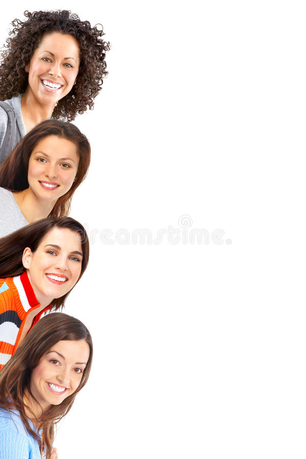 härliga lyckliga kvinnor royaltyfri fotografi