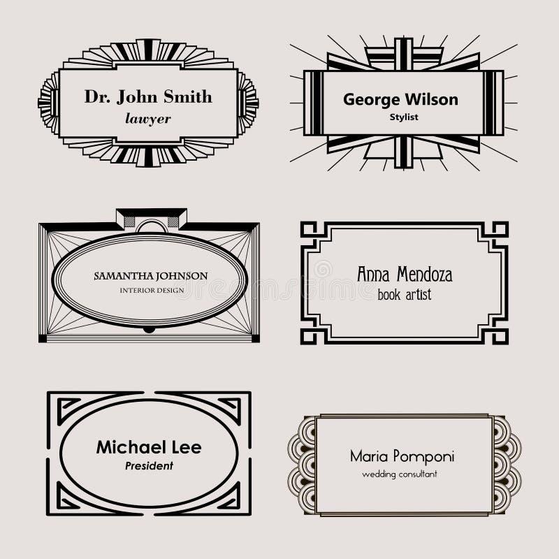Härliga mellanrumsramar för affärskort royaltyfri illustrationer