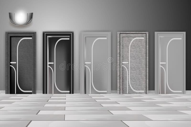 Härliga moderna dörrar, hemmiljö Svartvit illustration royaltyfri illustrationer
